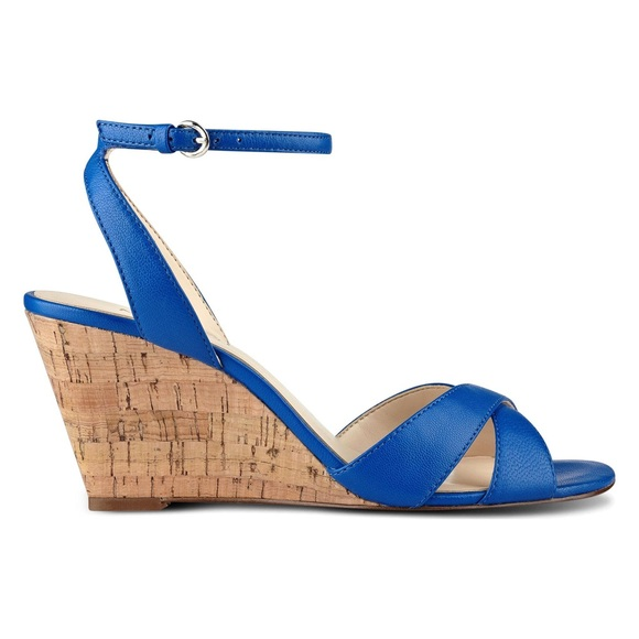 Kami Blue Cork Wedge Heel Sandal   Poshmark